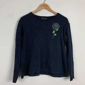 Zara Navy Blue Floral 3D Crewneck Sweater S